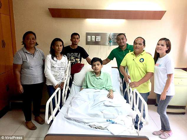 Gerald (pictured) is at Vicente Sotto Memorial Hospital undergoing x-rays, scans and tests